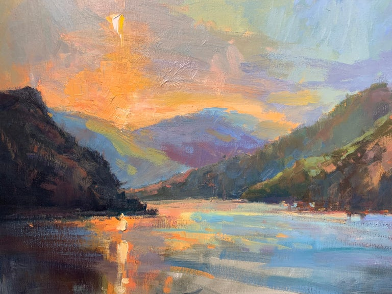 Lakeside Sundown by Millie Gosch,  Framed Impressionist Oil on Canvas Painting 6