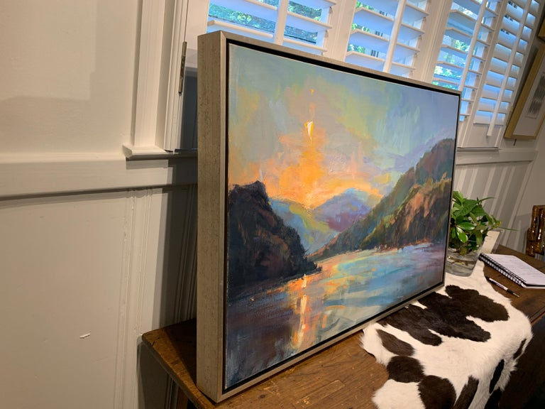Lakeside Sundown by Millie Gosch,  Framed Impressionist Oil on Canvas Painting 7
