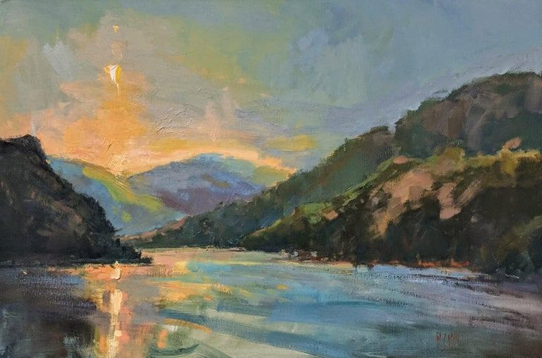 Lakeside Sundown by Millie Gosch,  Framed Impressionist Oil on Canvas Painting 1