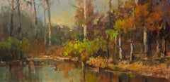 October Pond by Millie Gosch,  Framed Impressionist Oil on Canvas Painting