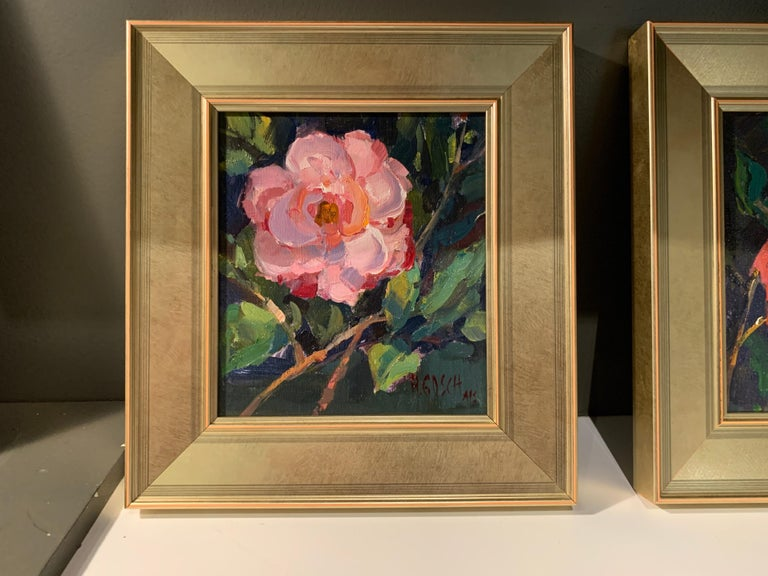 Pink Beauty by Millie Gosch, Small Framed Impressionist Still-Life Oil Painting For Sale 1