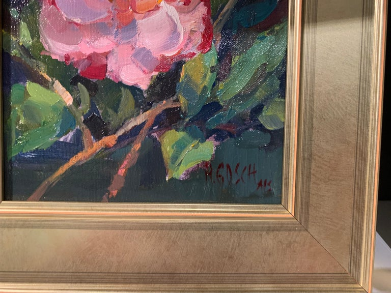 Pink Beauty by Millie Gosch, Small Framed Impressionist Still-Life Oil Painting For Sale 2