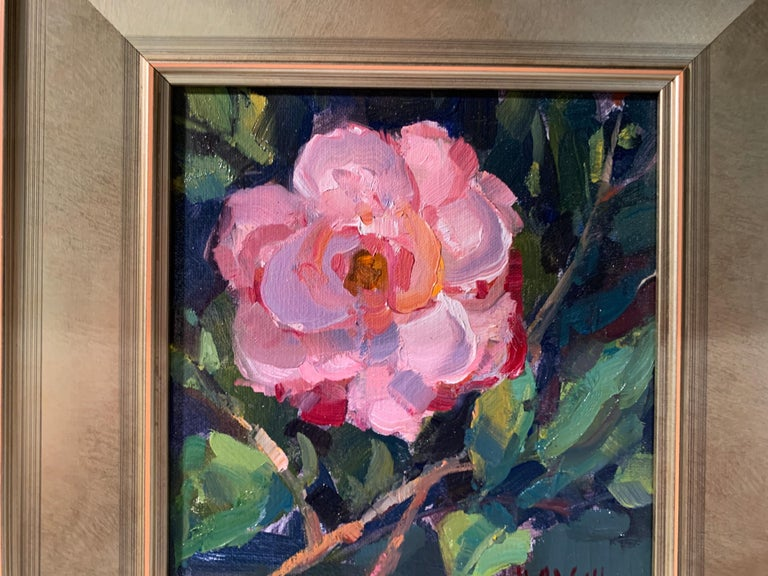 Pink Beauty by Millie Gosch, Small Framed Impressionist Still-Life Oil Painting For Sale 3