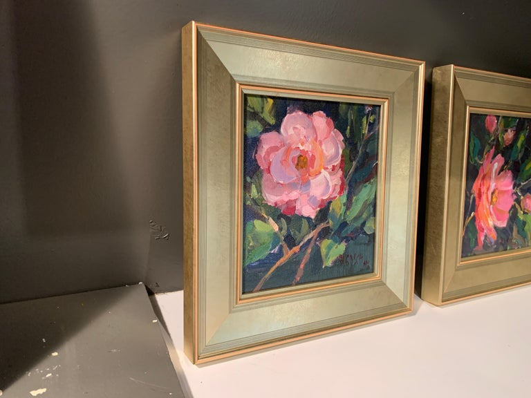 Pink Beauty by Millie Gosch, Small Framed Impressionist Still-Life Oil Painting For Sale 4