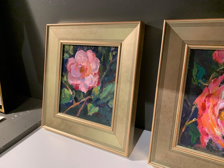 Pink Beauty by Millie Gosch, Small Framed Impressionist Still-Life Oil Painting For Sale 5