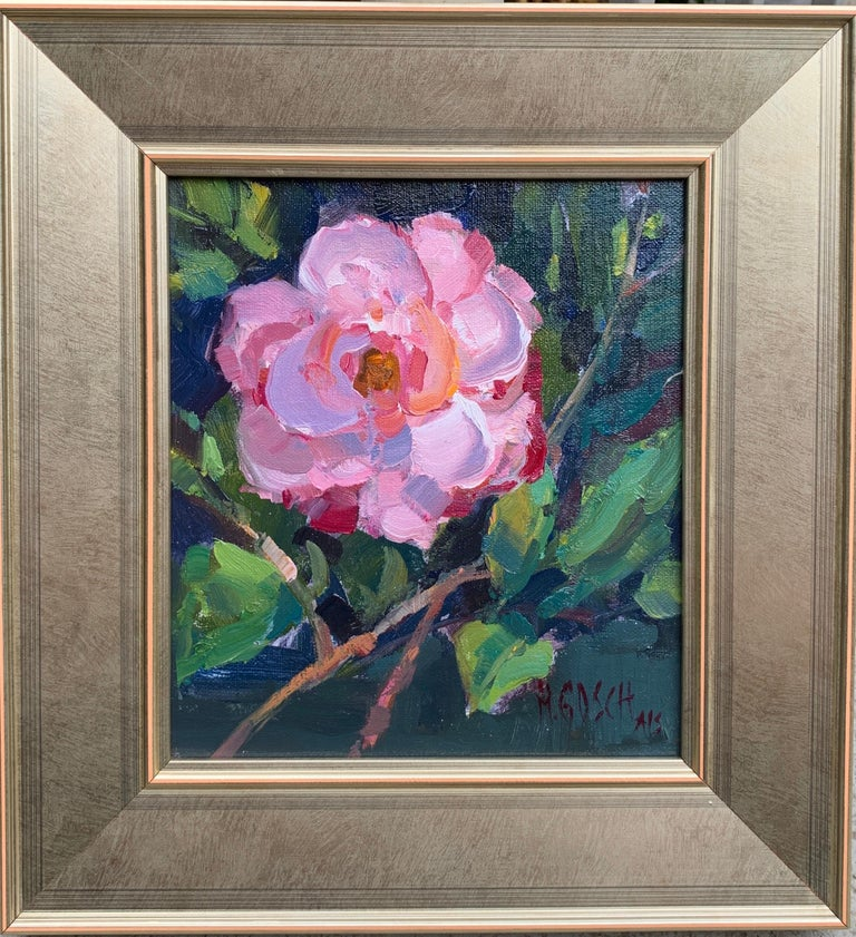 'Southern Serenade' is a small framed Impressionist oil on board still-life painting created by American artist Millie Gosch in 2020. Featuring a palette made of pink, green and blue tones among others, this still-life painting depicts a bouquet of