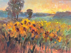 Sunflowers by Millie Gosch, Framed Impressionist Floral Landscape Oil Painting