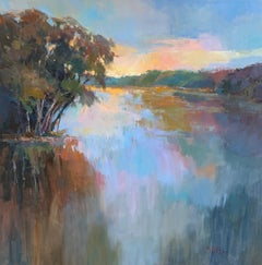 The River Speaks by Millie Gosch, Framed Impressionist Landscape Oil Painting