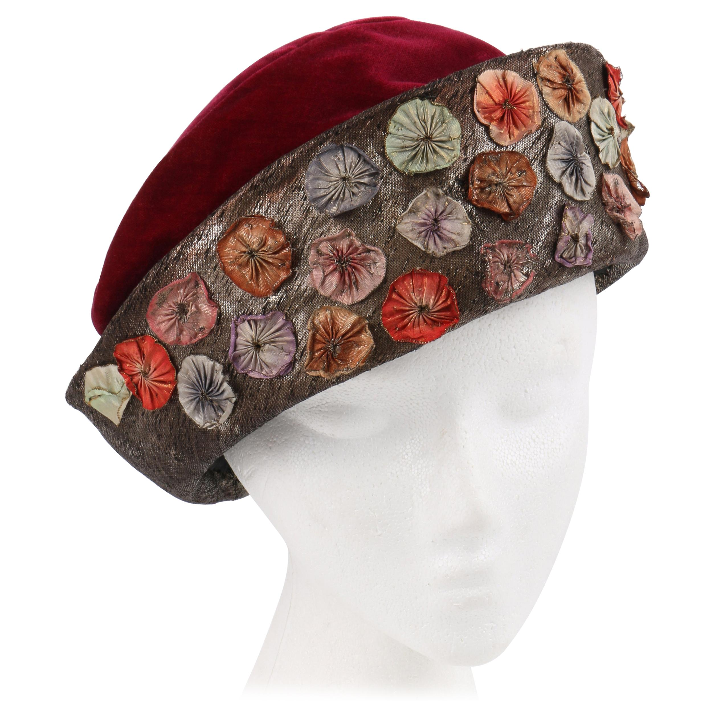 Millinery Couture c.1920s Wine Red Velvet Metallic Flower Embellished Cloche Hat