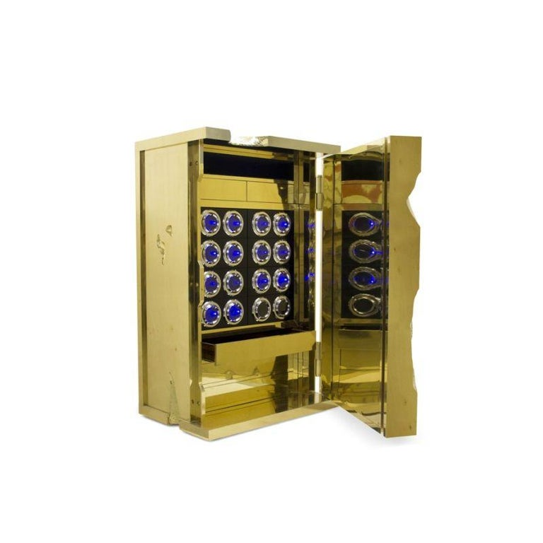 Modern Millionaire Jewelry Safe in Polished Brass For Sale