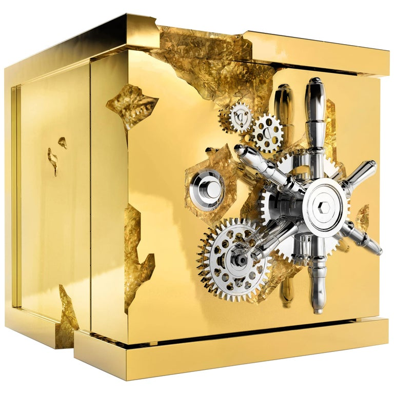 Millionaire Jewelry Safe in Polished Brass For Sale