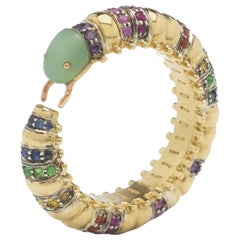 18 Karat Yellow Gold Sapphire Millipede Eternity Ring