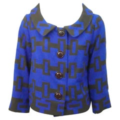 Milly Blue and Brown Geometric Print Wool Crop Jacket-8