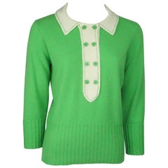 Milly Green & Ivory Sweater - Medium