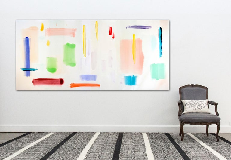 April Sunny Day - large, bright, colourful, gestural abstract, acrylic on canvas For Sale 2