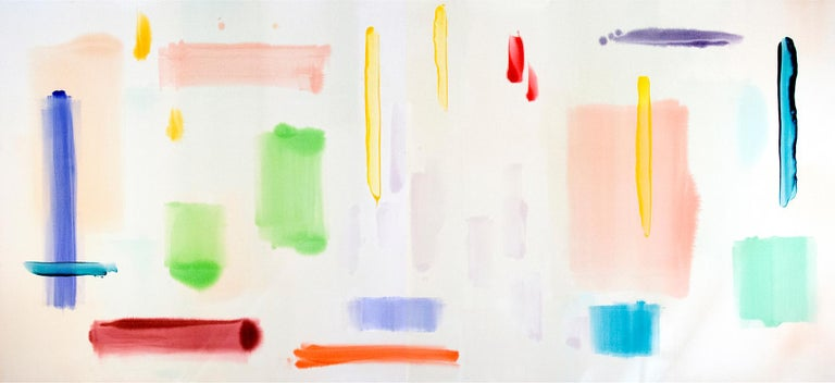 April Sunny Day - large, bright, colourful, gestural abstract, acrylic on canvas - Painting by Milly Ristvedt