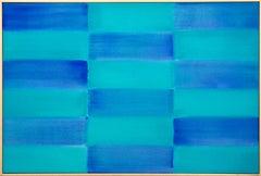 Damselfly - blue, teal, abstract, geometric composition, acrylic on canvas