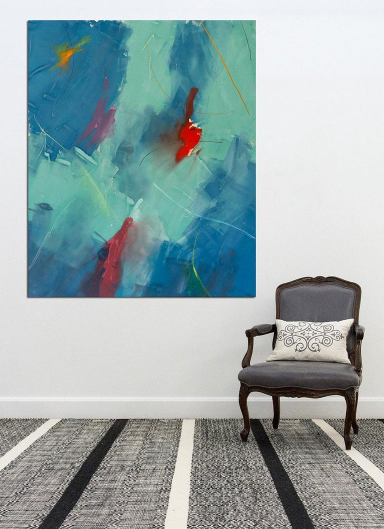 Free Place, Blue Green - large, bold, gestural abstract, acrylic on canvas For Sale 2