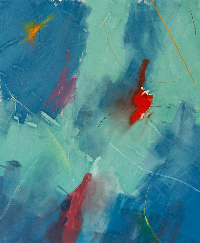 Milly Ristvedt Abstract Painting - Free Place, Blue Green - large, bold, gestural abstract, acrylic on canvas
