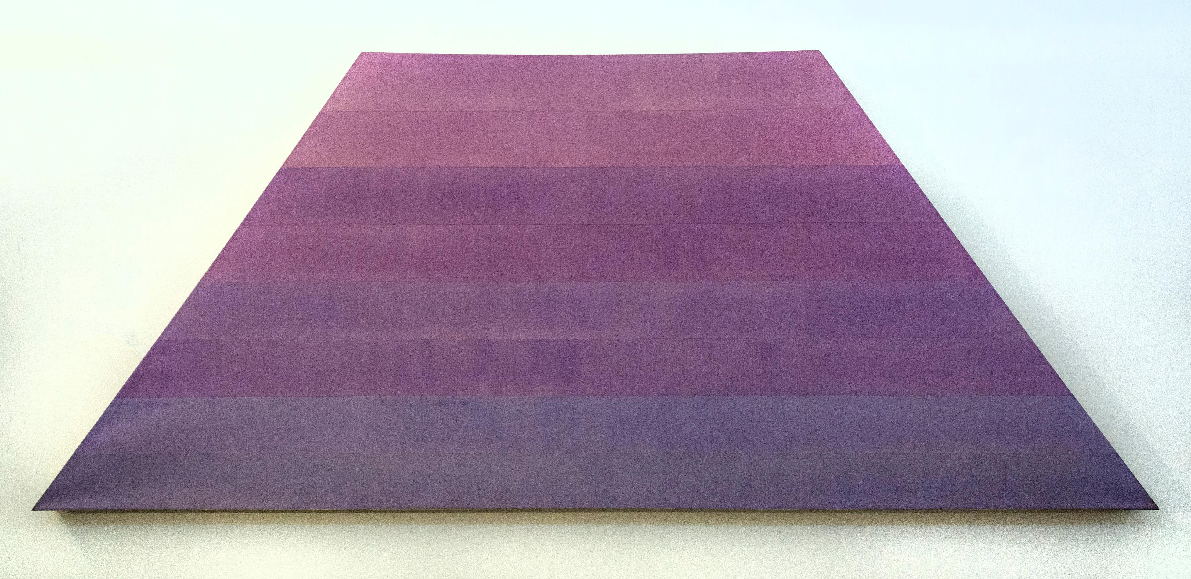 Glide - large, purple, pink, hues, striped, abstract acrylic on shaped canvas