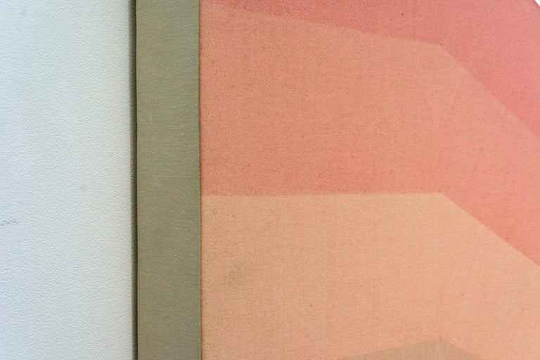 Gradient bands of washed dust rose turn to umber in this shaped canvas from 1968 by Milly Ristvedt. From the first part of her career, this powerful painting is rooted in the tenets of modern Color Field painting.   Milly Ristvedt (b. 1942,