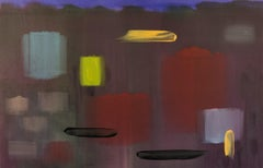 Now it is - large, red, yellow, purple, contemporary abstract, acrylic on canvas