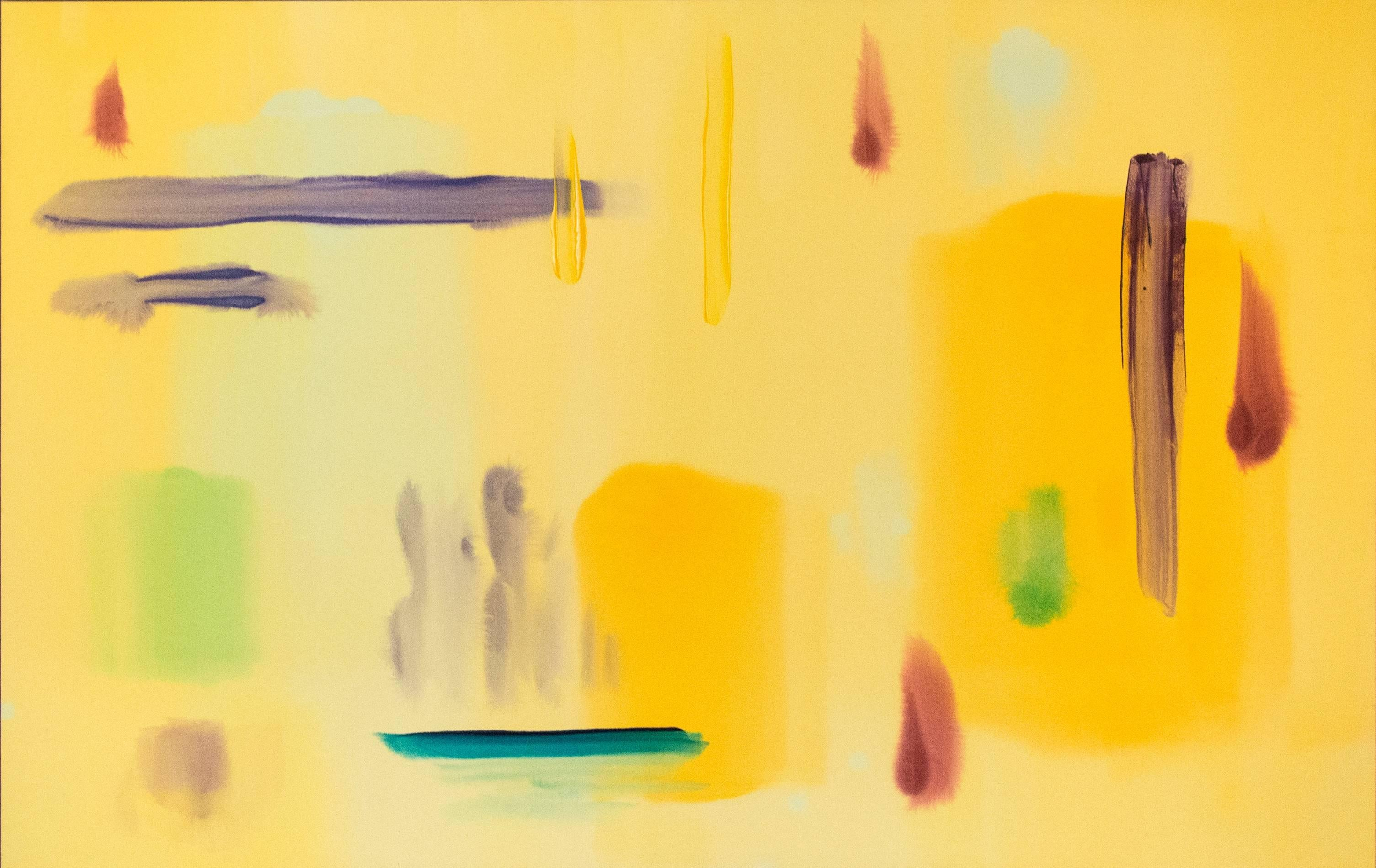 Sizzle Yellow - Large yellow, violet, aqua blue gestural abstract painting