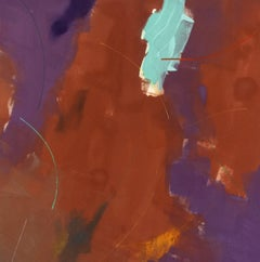 Song for the Lark - large, red, purple, gestural abstract, acrylic on canvas