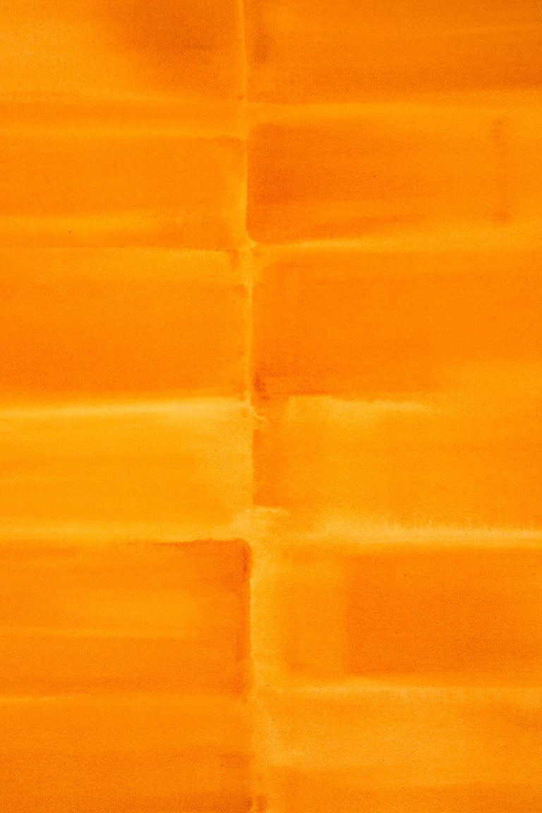 Washed orange rectangles in this geometric composition by Milly Ristvedt breathe rhythmically against the picture plane.   Milly Ristvedt (b. 1942, Kimberley, BC) MA, RCA, began her career in Toronto in 1964 after studies with Takao Tanabe at the