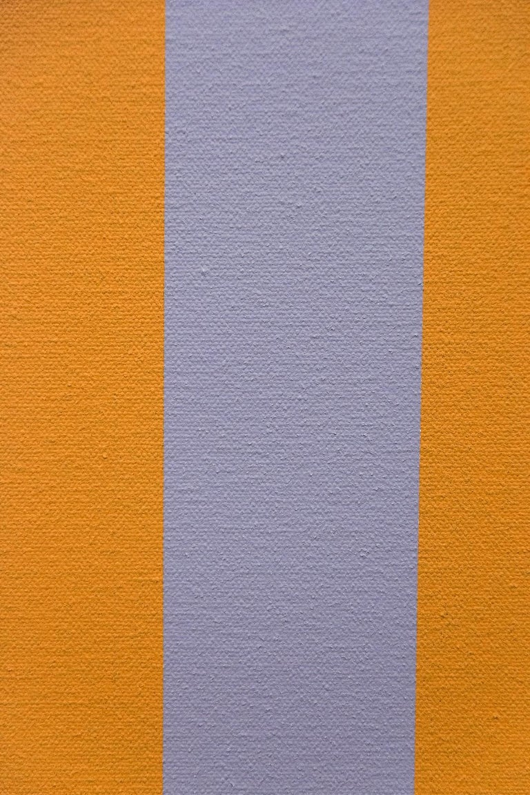 Verticality #4 - orange, grey, green, geometric abstract, acrylic on canvas For Sale 1