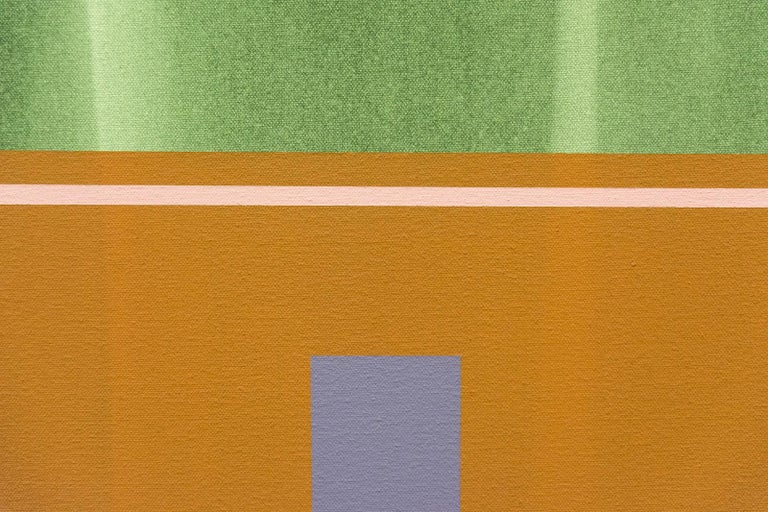 Verticality #4 - orange, grey, green, geometric abstract, acrylic on canvas For Sale 2