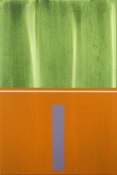 Verticality #4 - orange, grey, green, geometric abstract, acrylic on canvas