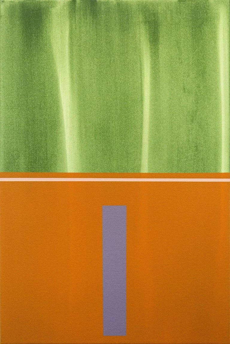 Verticality #4 - orange, grey, green, geometric abstract, acrylic on canvas - Painting by Milly Ristvedt