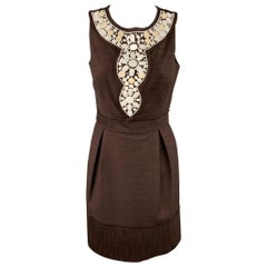 MILLY Size 6 Brown Textured Beaded Polyester / Cotton Sheath Dress