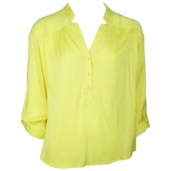 Milly Yellow Silk 3/4 Sleeve Top - 8