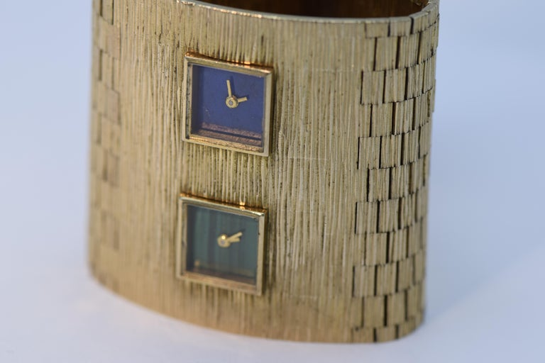 Milner Gold Lapis Lazuli Malachite Dual Time Zone Bracelet
