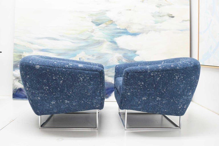Milo Baughman 1970s Lounge Chairs in Blue Upholstery by Donghia For Sale 4