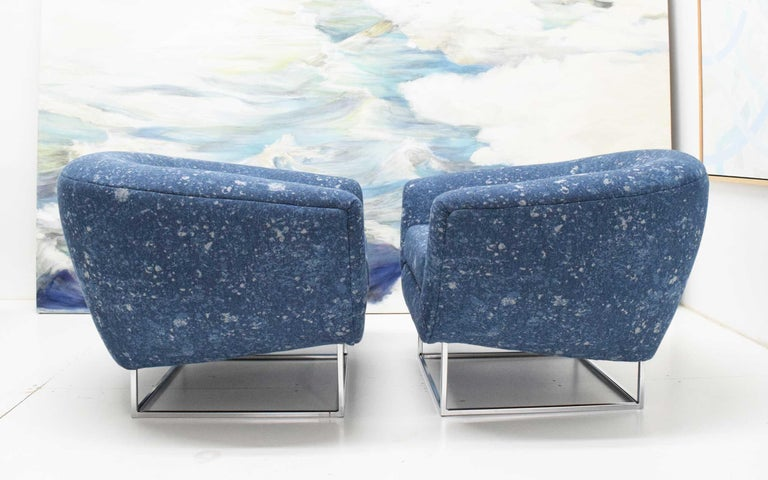 Milo Baughman 1970s Lounge Chairs in Blue Upholstery by Donghia For Sale 5