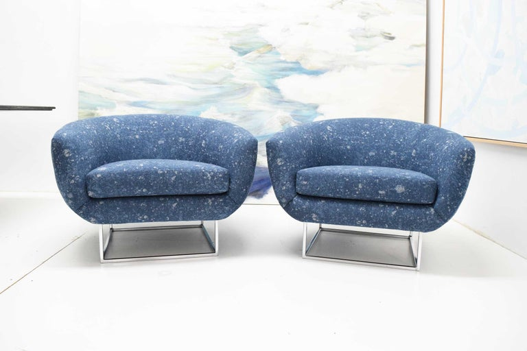Mid-Century Modern Milo Baughman 1970s Lounge Chairs in Blue Upholstery by Donghia For Sale