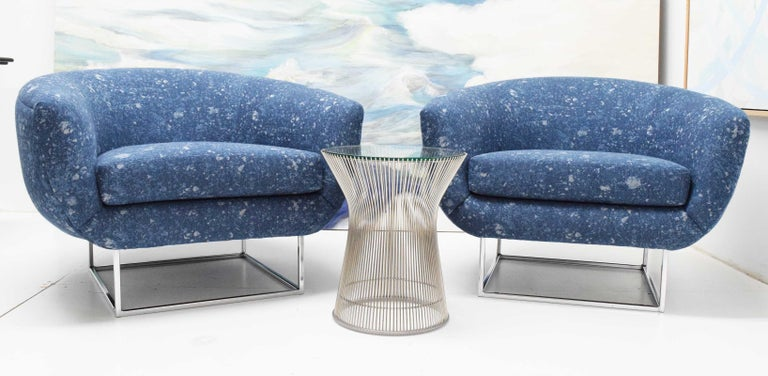 20th Century Milo Baughman 1970s Lounge Chairs in Blue Upholstery by Donghia For Sale