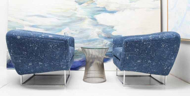 Milo Baughman 1970s Lounge Chairs in Blue Upholstery by Donghia For Sale 1