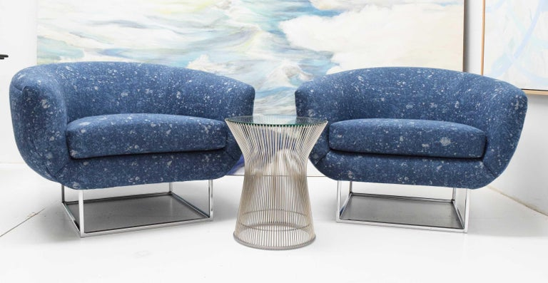 Milo Baughman 1970s Lounge Chairs in Blue Upholstery by Donghia For Sale 2