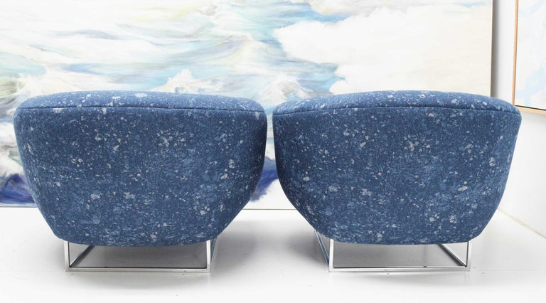 Milo Baughman 1970s Lounge Chairs in Blue Upholstery by Donghia For Sale 3