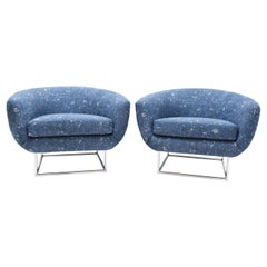 Milo Baughman 1970s Lounge Chairs in Blue Upholstery by Donghia