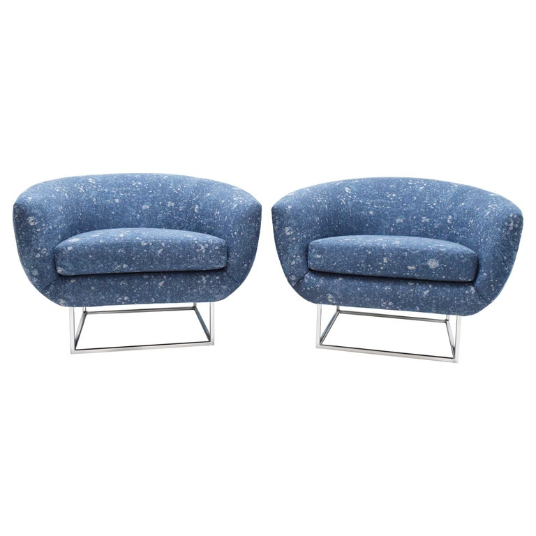 Milo Baughman 1970s Lounge Chairs in Blue Upholstery by Donghia For Sale
