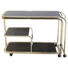 Milo Baughman American Mid-Century Gilt Metal and Black Glass Expanding Bar Cart
