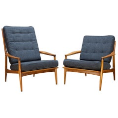 Milo Baughman Archie Chair Walnut His Hers High Low Back Midcentury Cabinmodern
