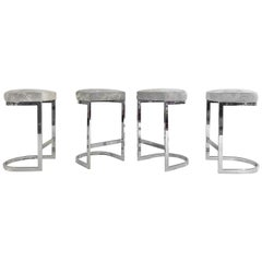 Bar Stools in Brazilian Cowhide, Set of 4