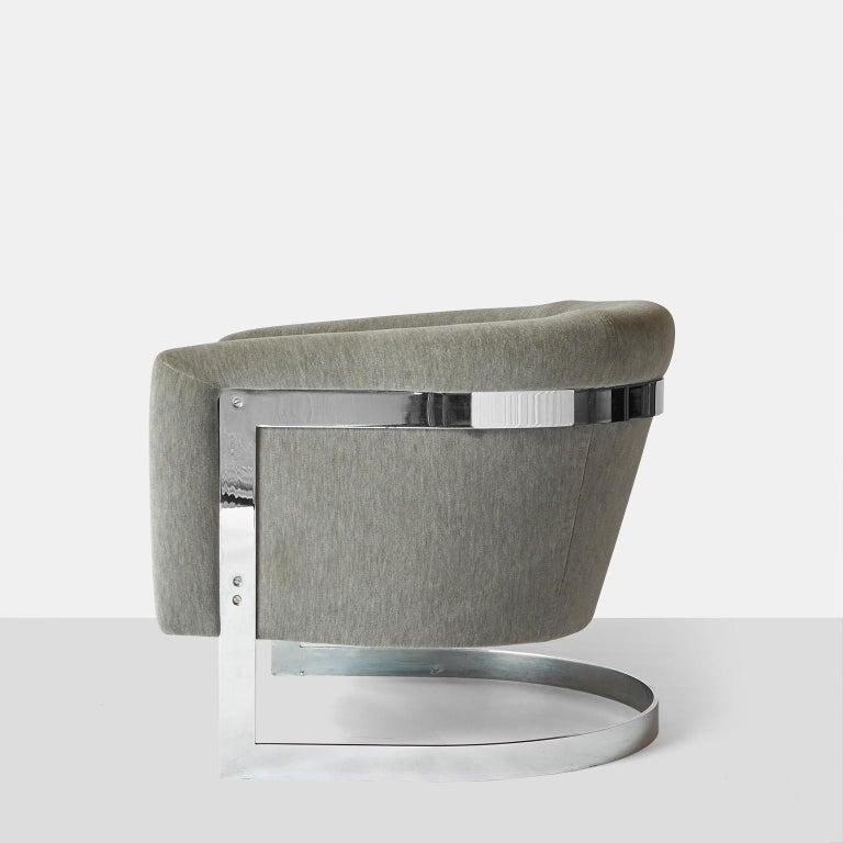 Mid-Century Modern Milo Baughman Barrel Back Lounge Chair For Sale