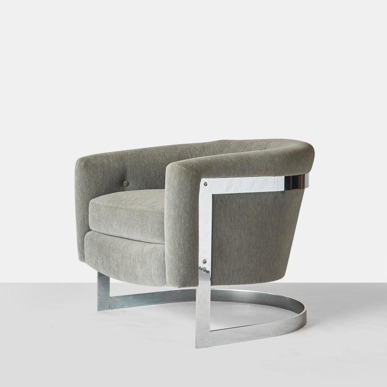 American Milo Baughman Barrel Back Lounge Chair For Sale